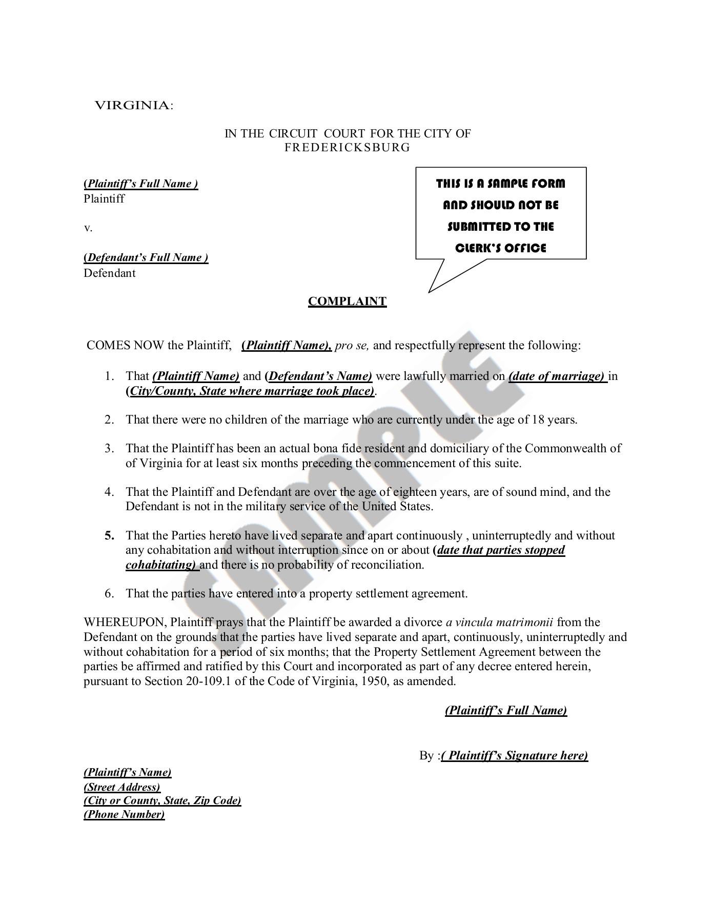 Divorce Settlement Agreement Template Virginia