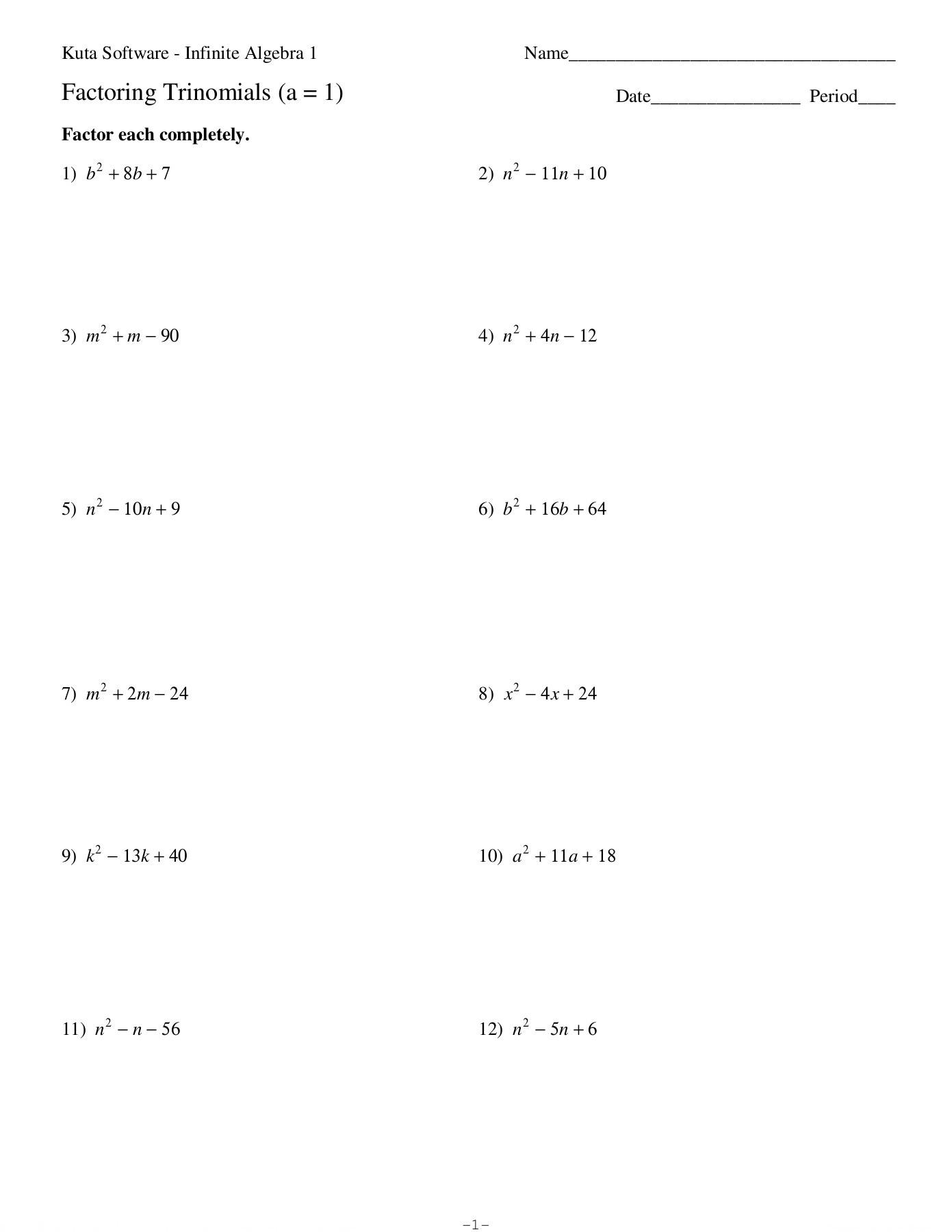Algebra 2 Factoring Worksheet Kuta