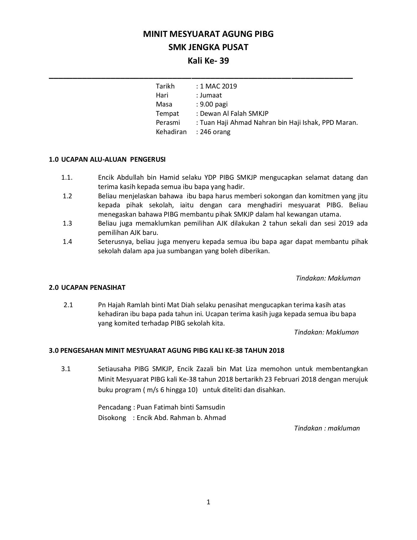 Agenda Mesyuarat Agung Pibg