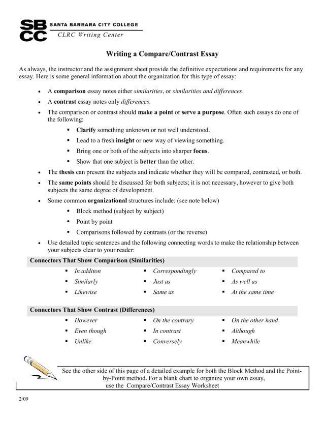 Writing a Compare / Contrast Essay - Santa Barbara City  Pages