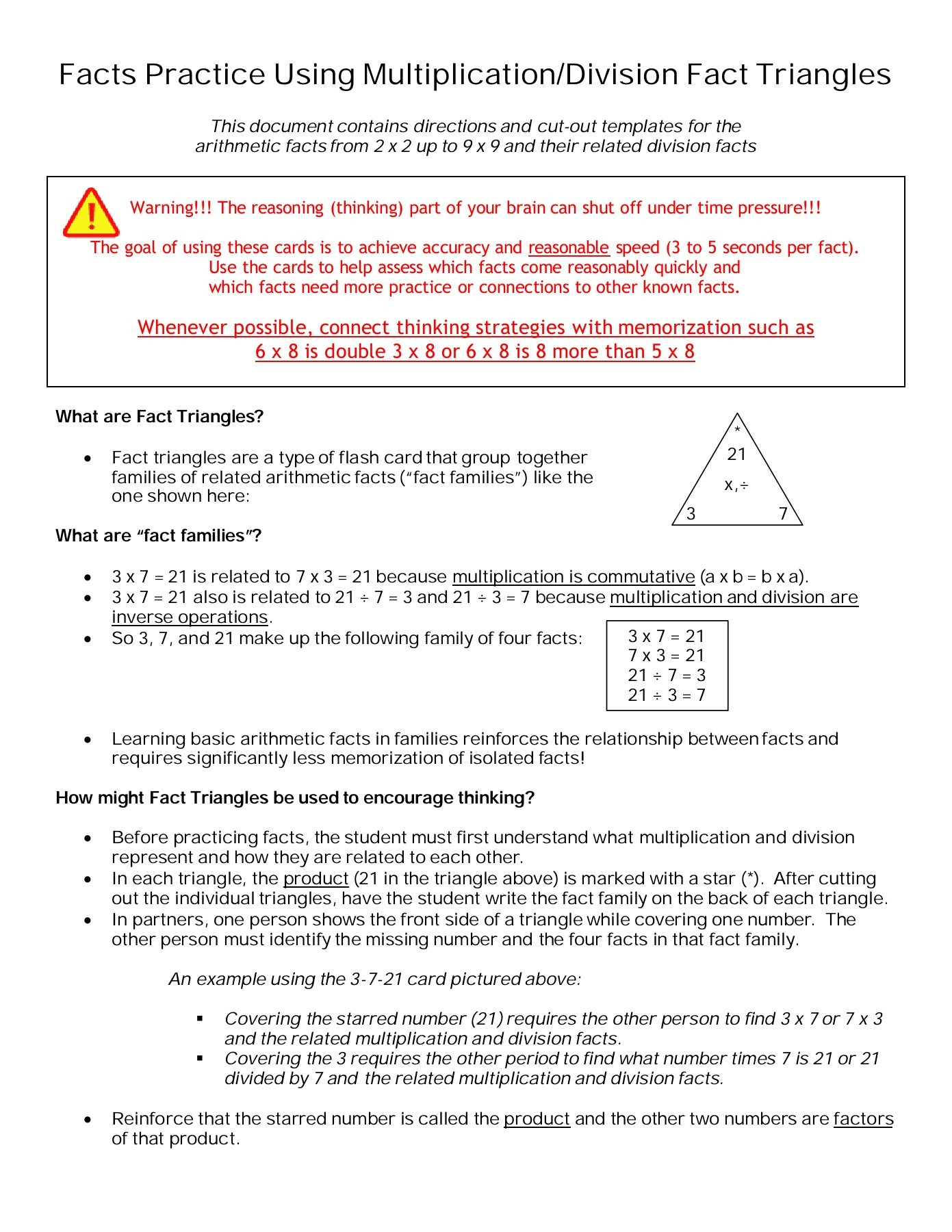 Worksheet Fact Family Triangles