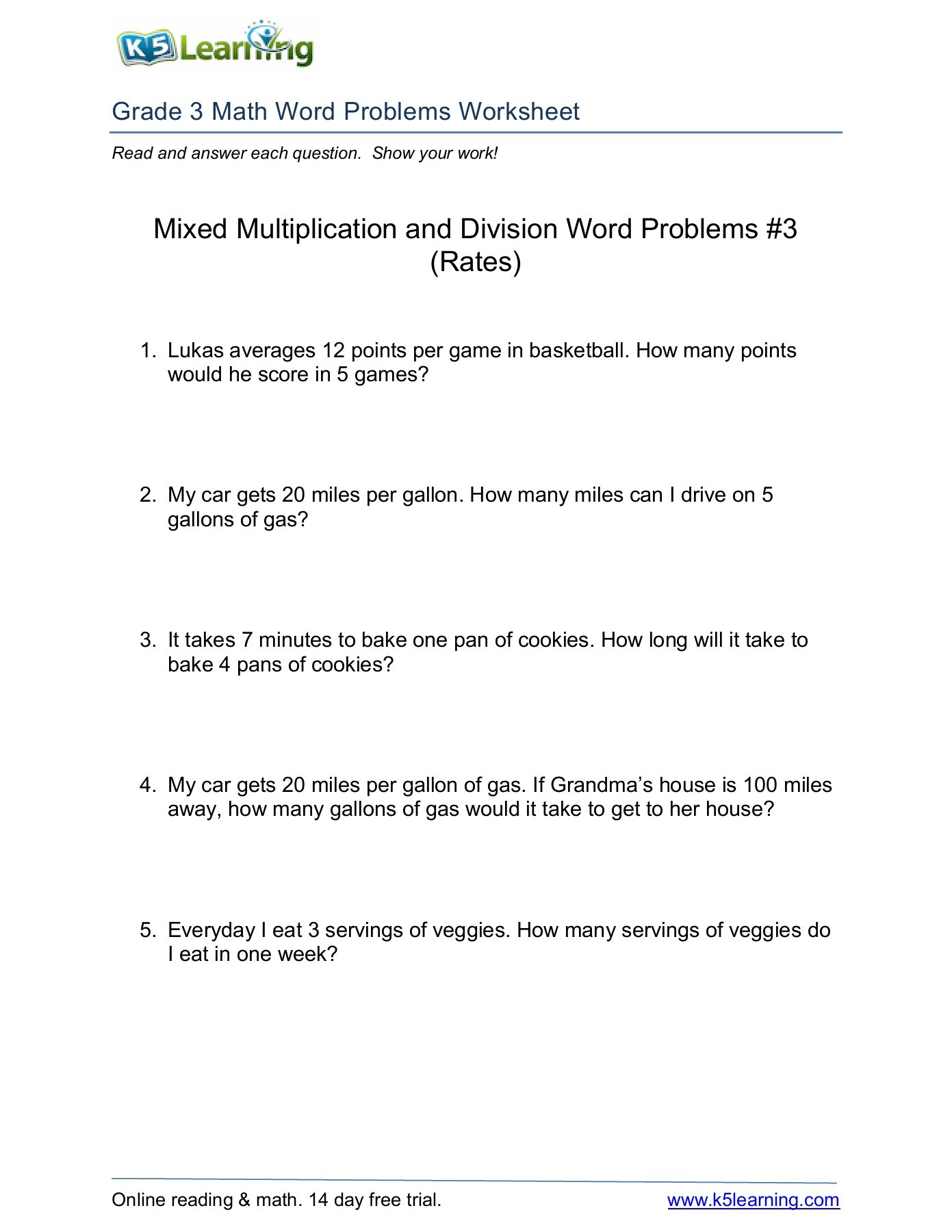 Free Math Worksheets For Grade 3 Word Problems