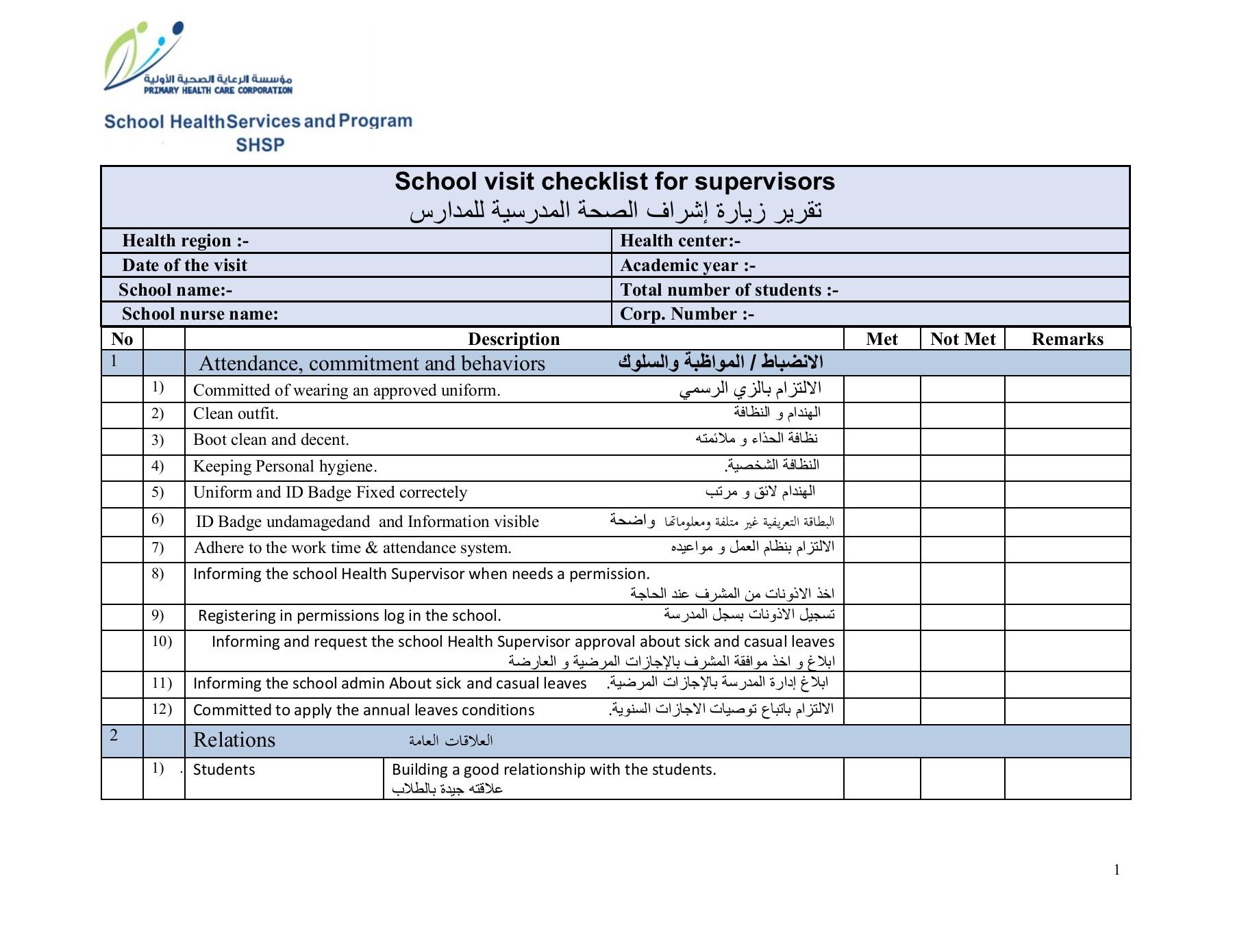 نموذج تقرير زيارة موجه لمدرسة