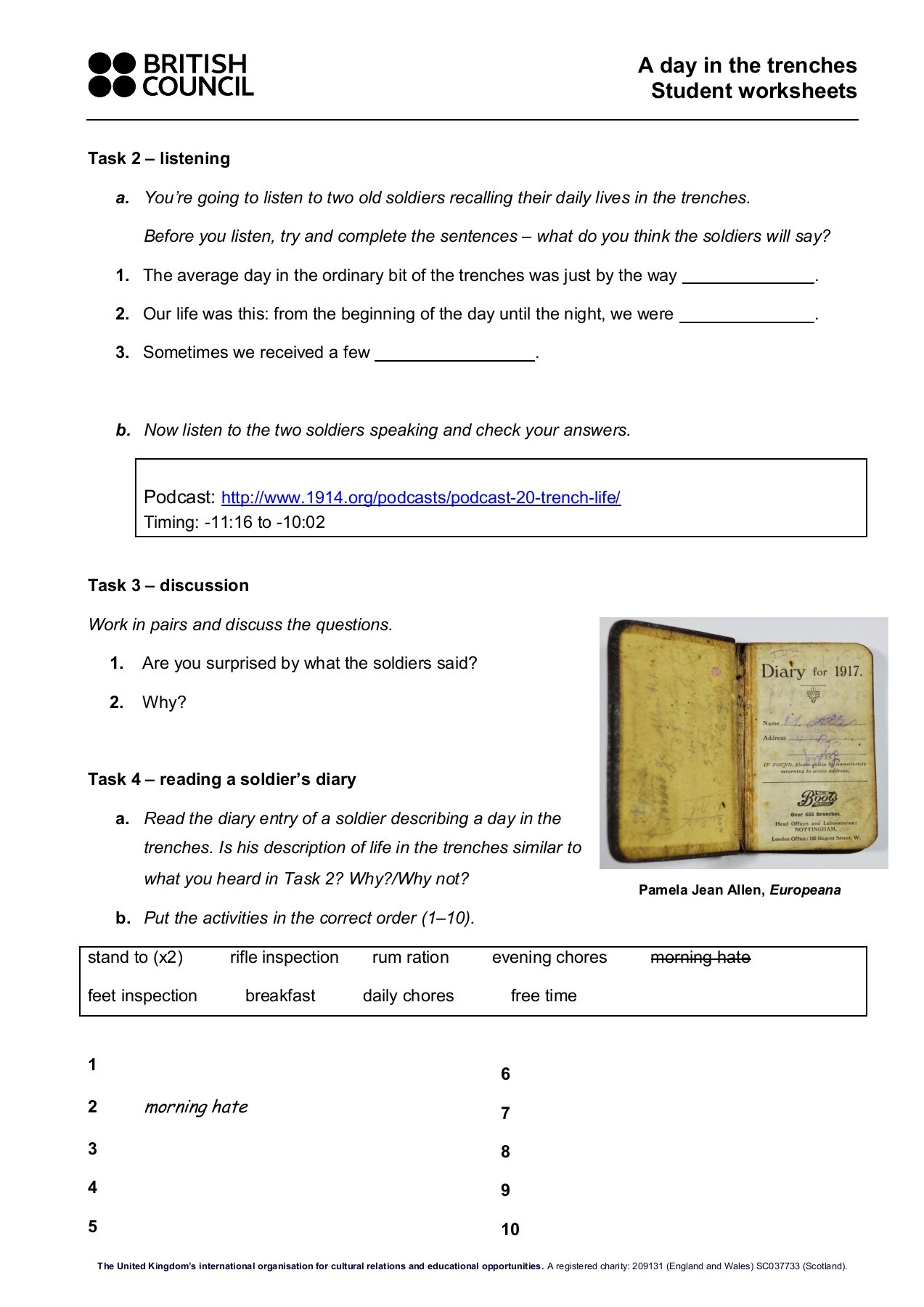 What Is A Trench Worksheet Answers