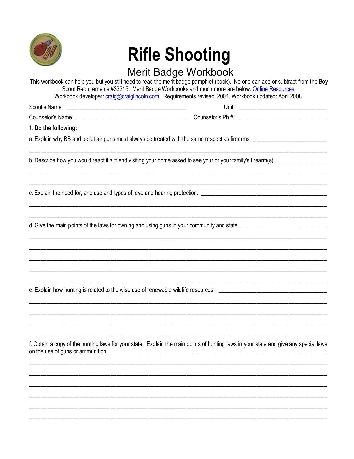 Rifle Shooting Merit Badge Worksheet