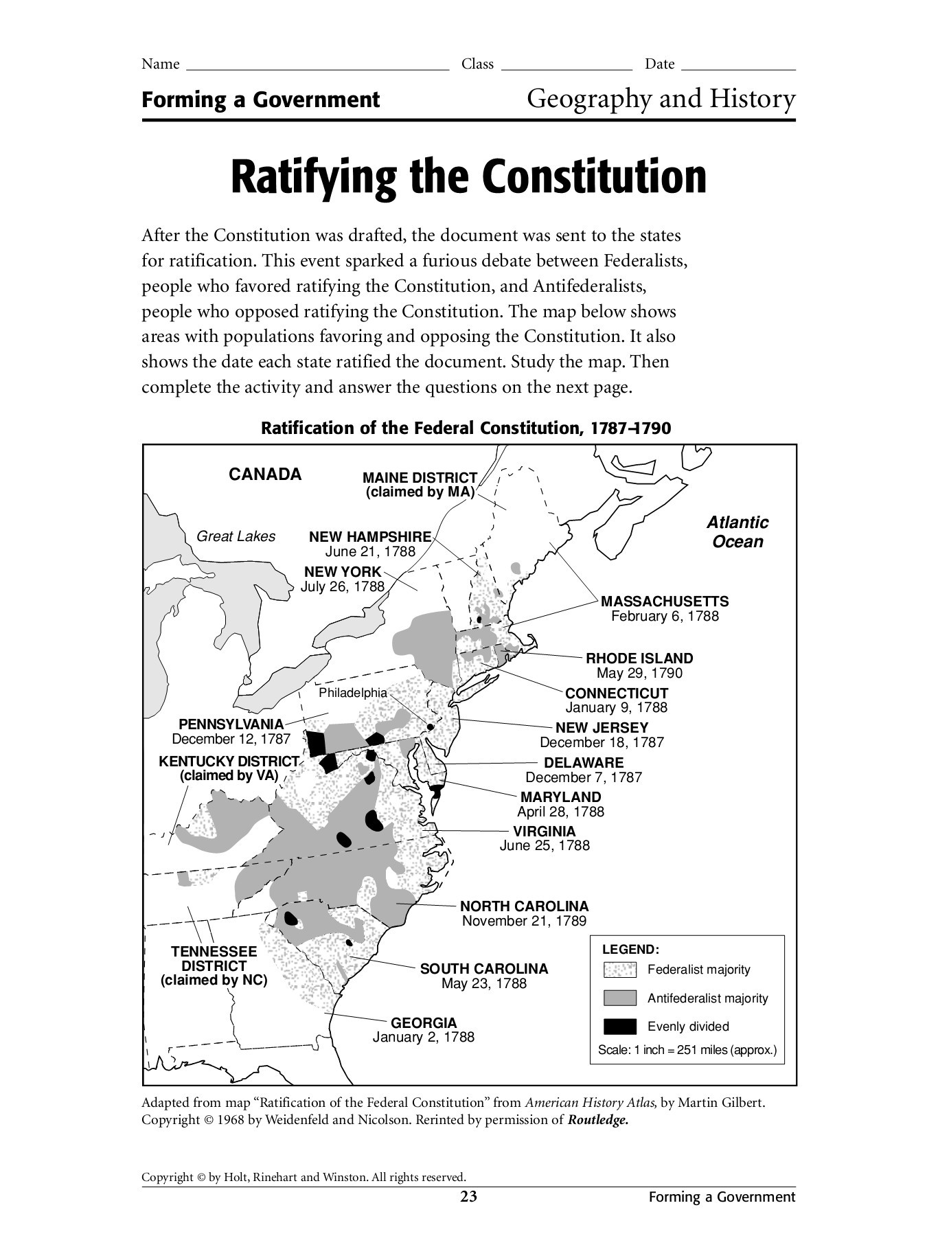 30 Ratifying The Constitution Worksheet