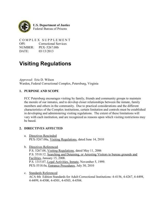 Visiting Regulations - Federal Bureau of Prisons Pages 29 - 29