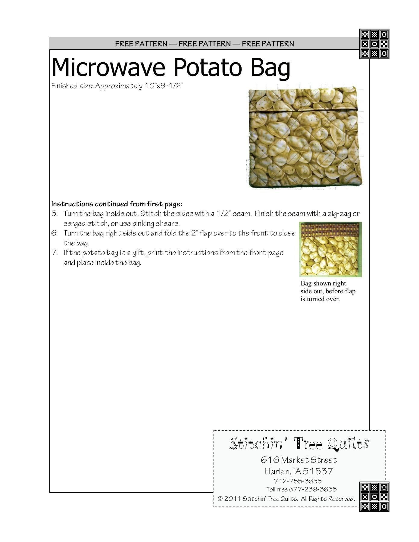 free pattern microwave potato bag