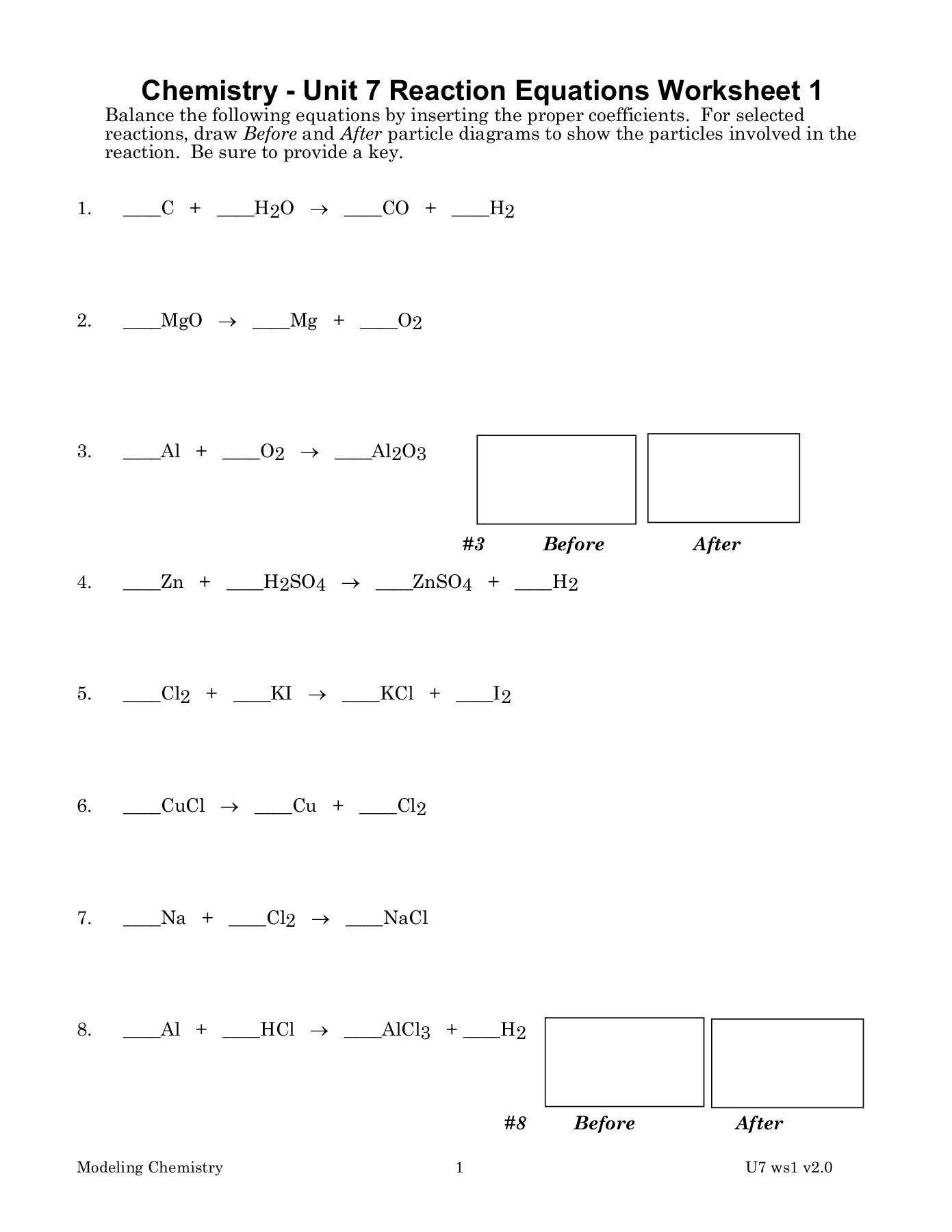 Chemistry Unit 8 Reaction Equations Worksheet 1 Answers