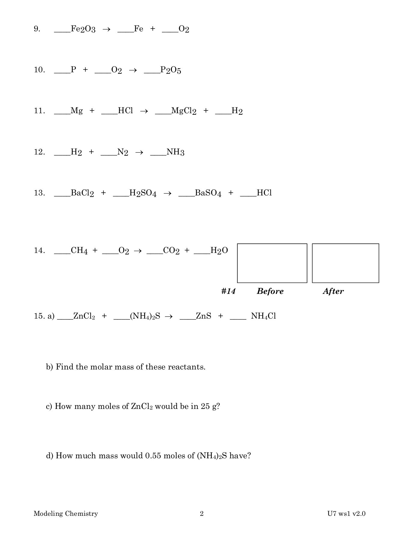 Chemistry Unit 7 Reaction Equations Worksheet 1 Answers