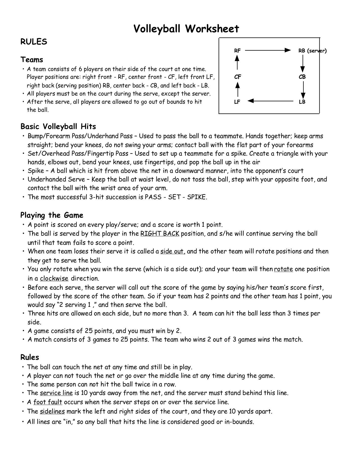 Worksheets Volleyball Worksheets Cheatslist Free