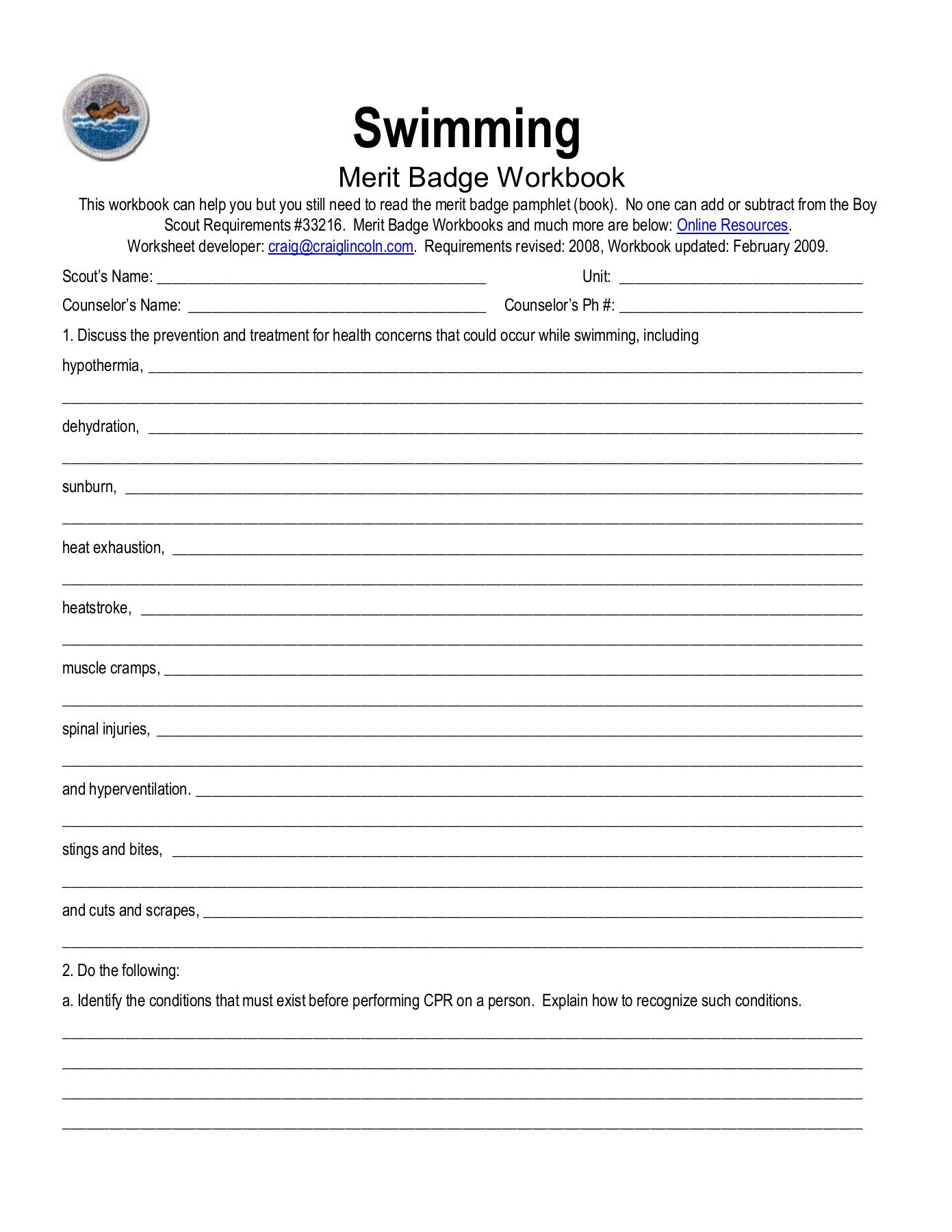 Boy Scouts Physical Fitness Merit Badge Workbook