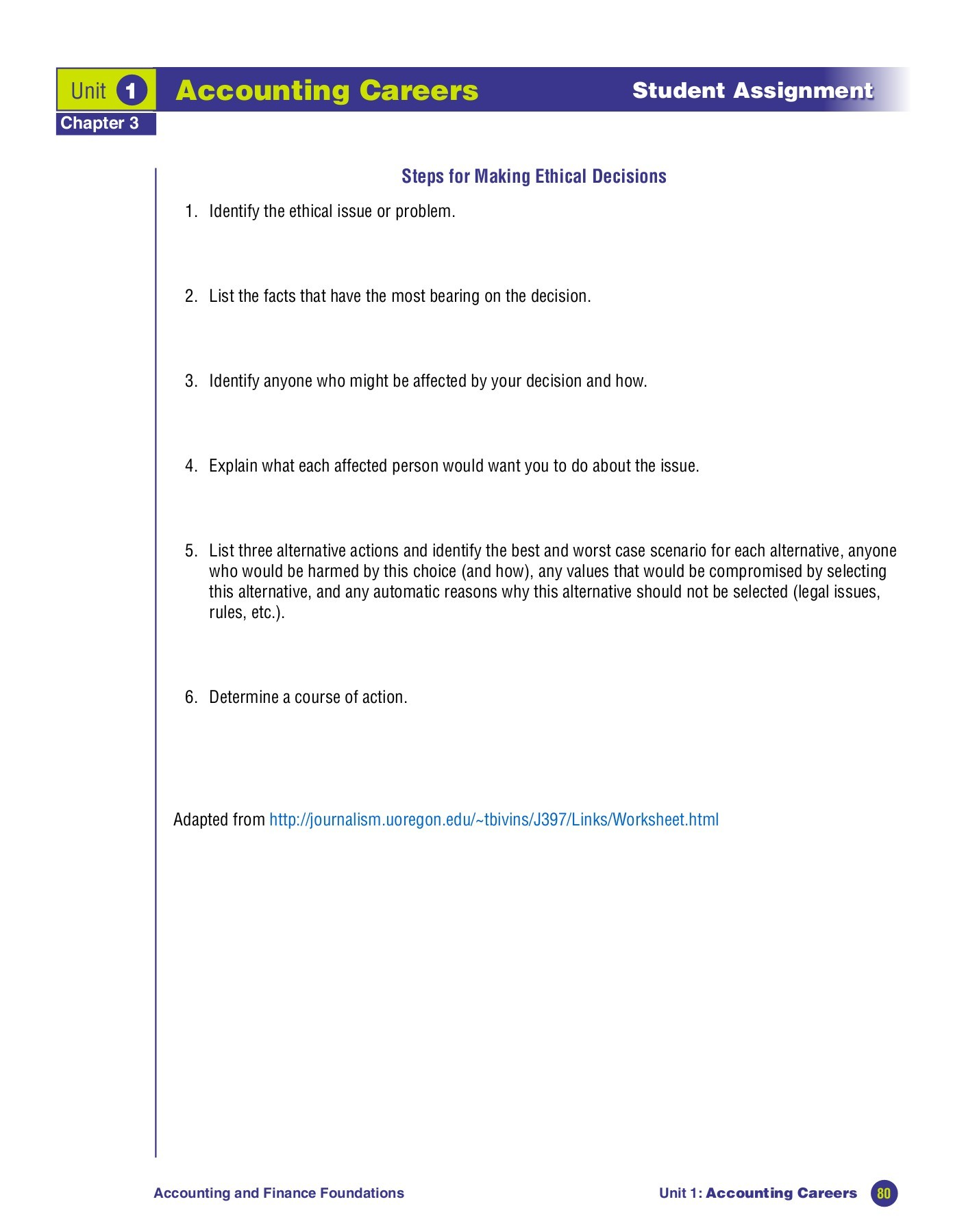 Ethical Decision Scenario Worksheet Essay About Ethical