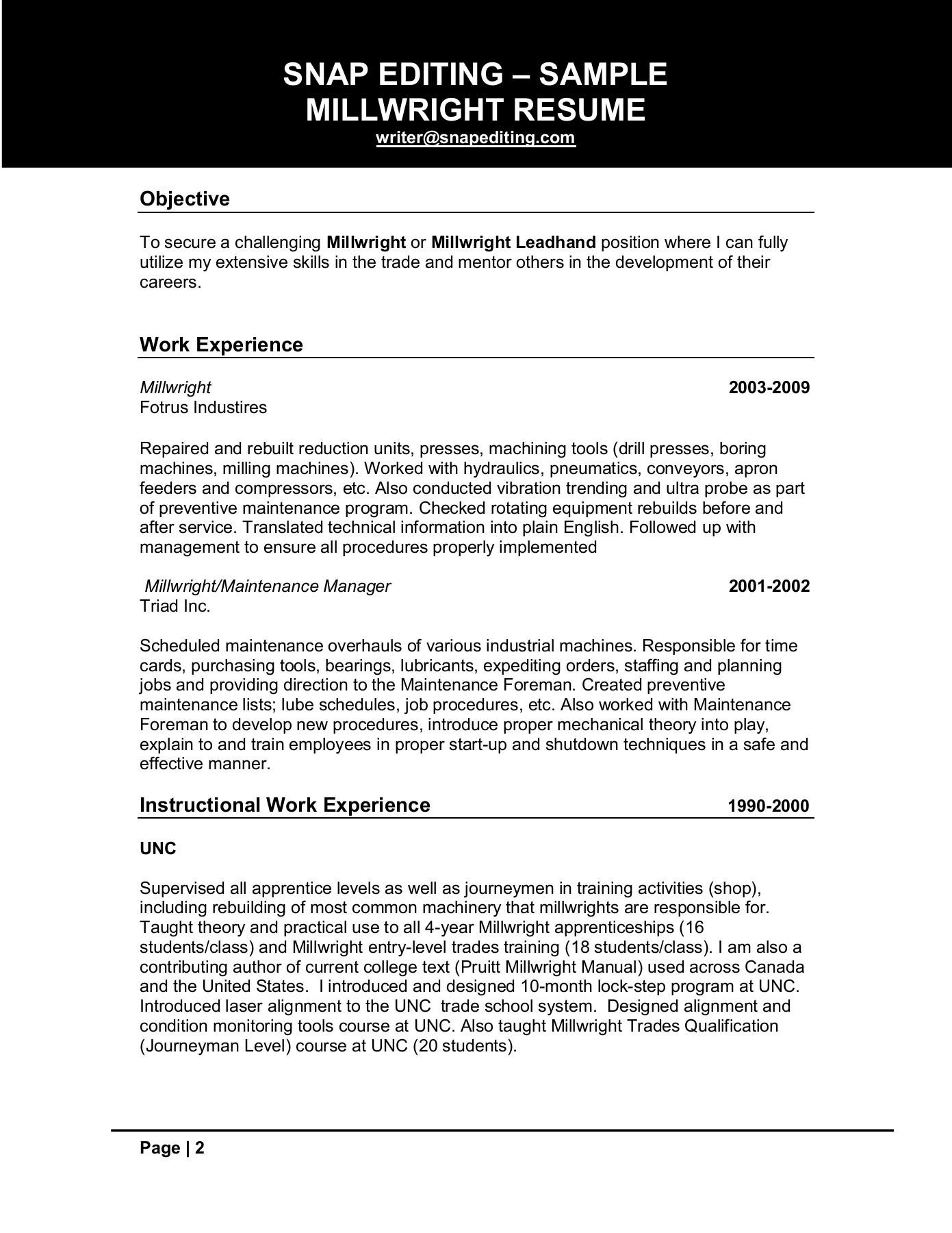 Skills Resume Free Millwright Hr Assistant Job Sample