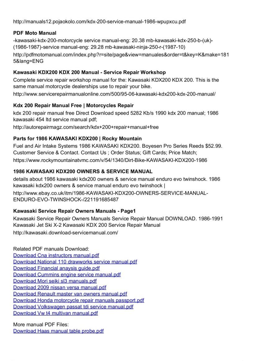 Free Motorcycle Repair Manuals Pdf Honda Information 1986 Kawasaki Kdx 200 Service Manual Pages 1 3 Text Version