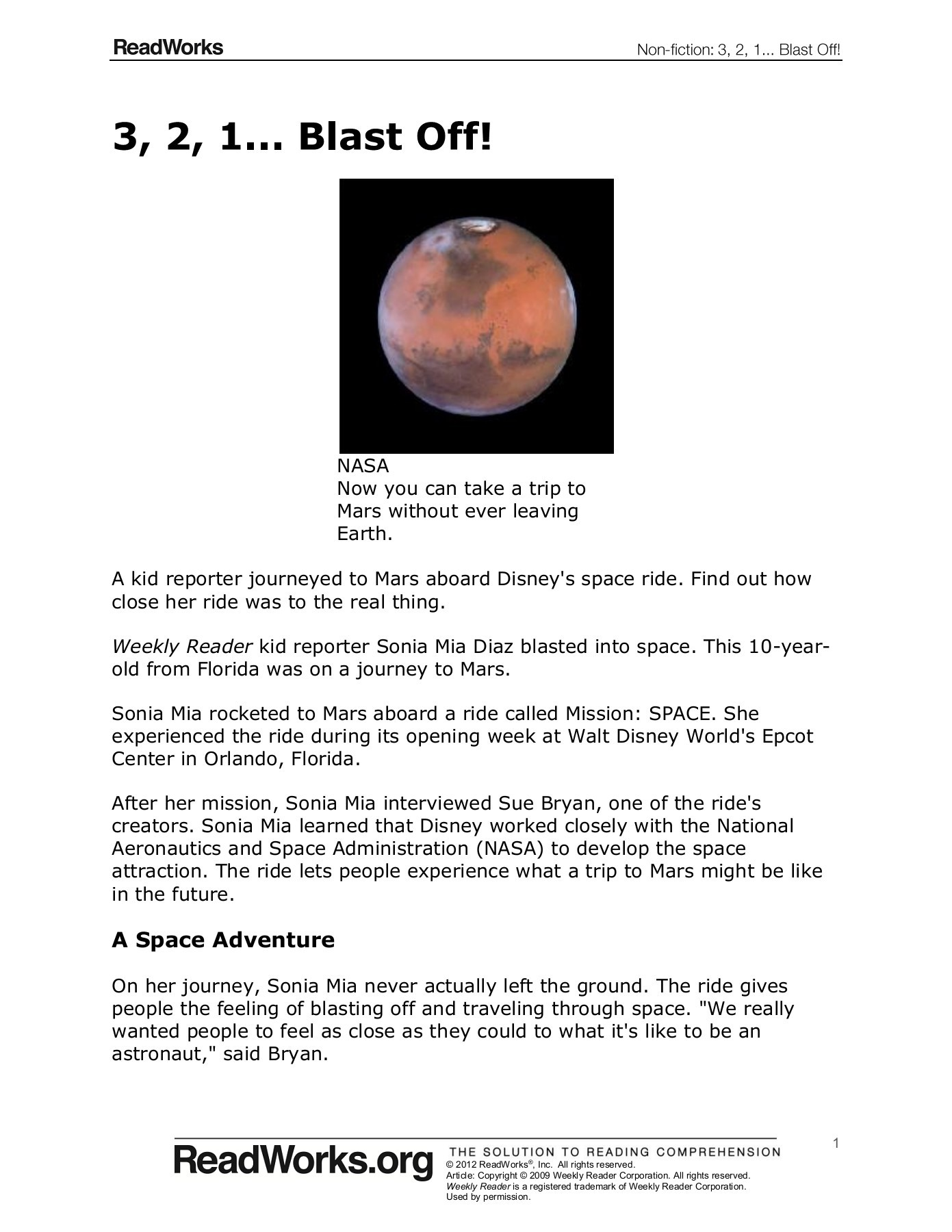 Mission To Mars Worksheet Answers