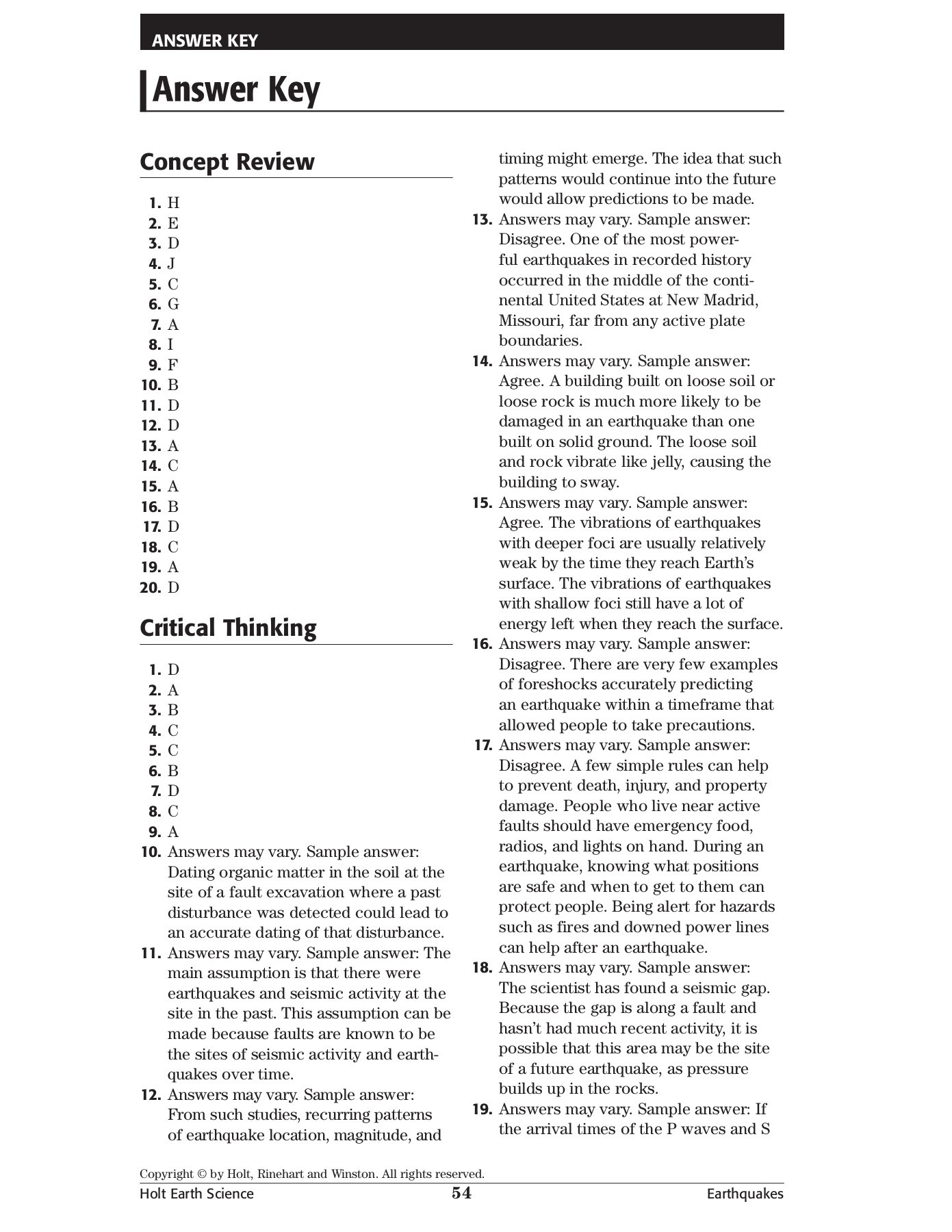 Printables Of Skills Worksheet Concept Review Answer Key