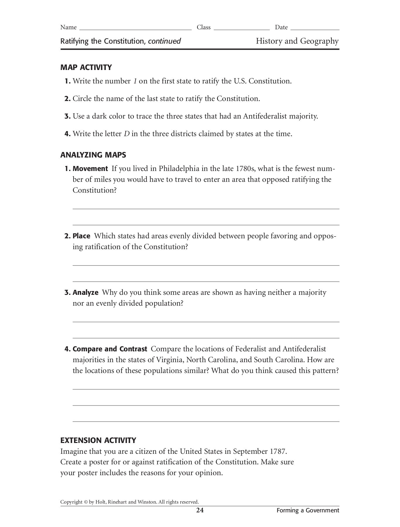 Ratifying The Constitution Worksheet Answers
