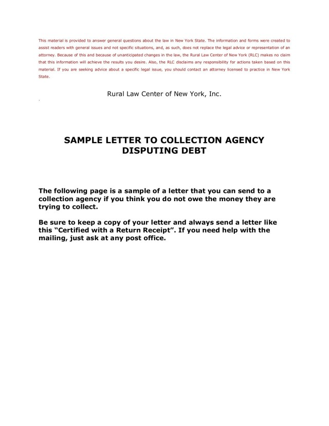 Sample Letter To Collection Agency