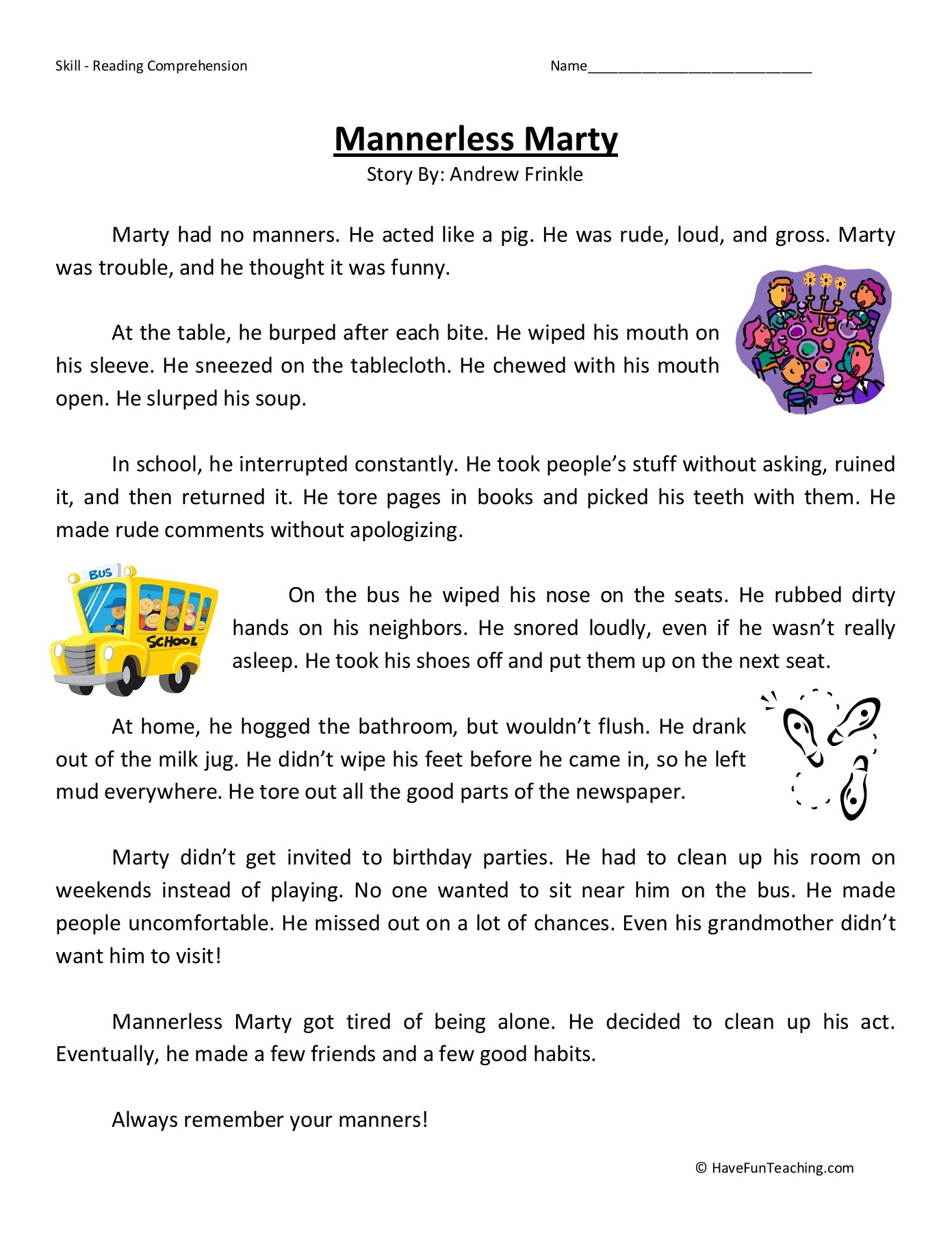 Good Manners Worksheets