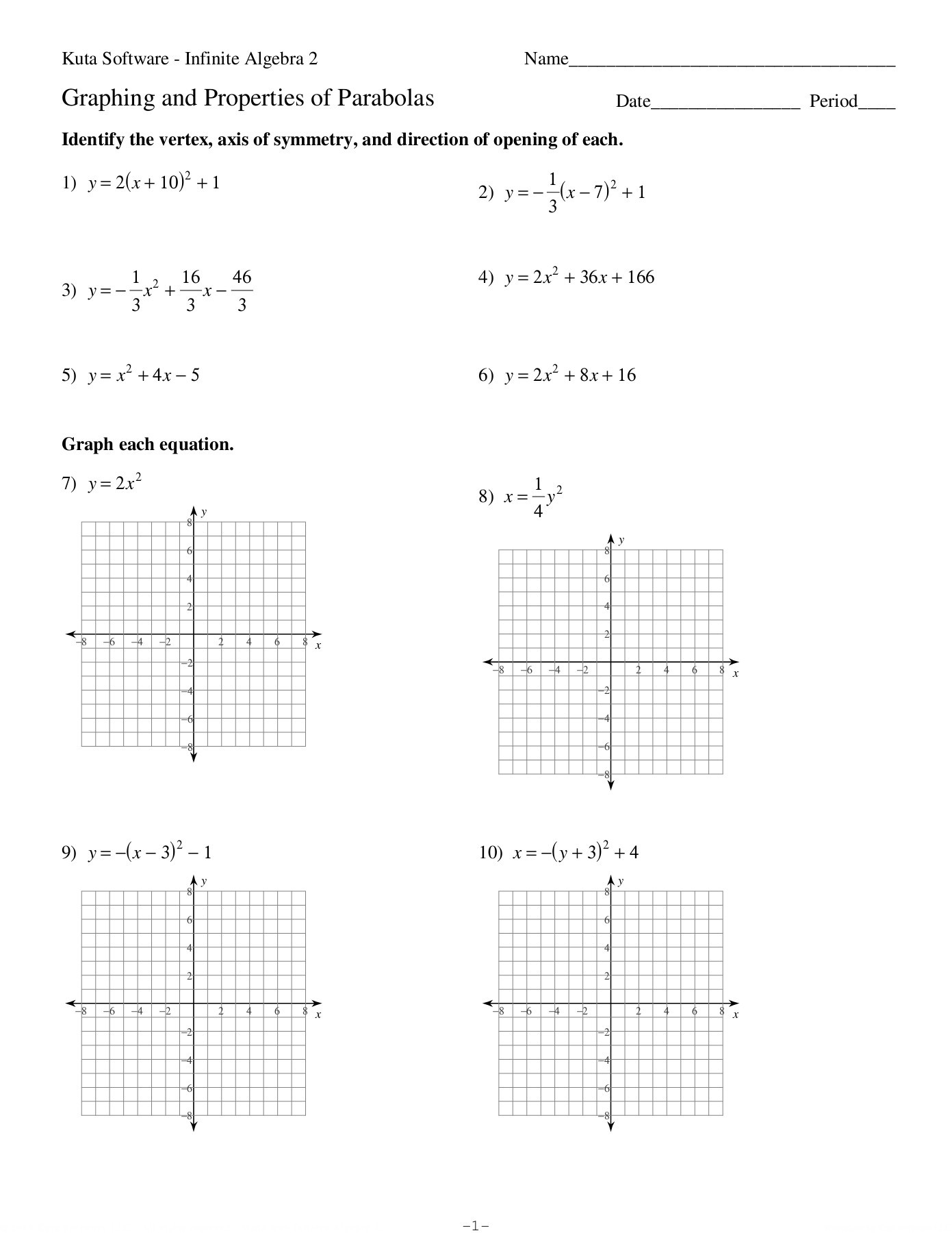 Properties Of Parabolas Worksheet Answers