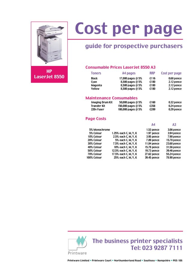 print rate per page Promotions