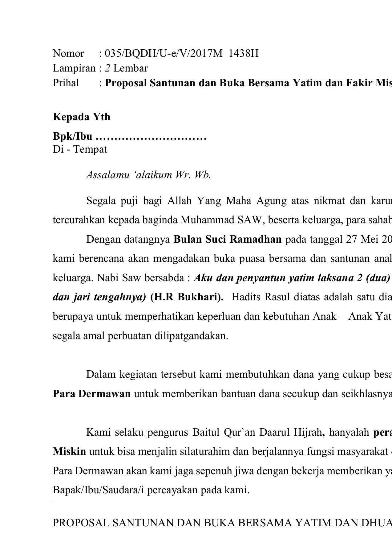 Proposal Santunan Ramadhan 1438 H Pages 1 20 Text Version