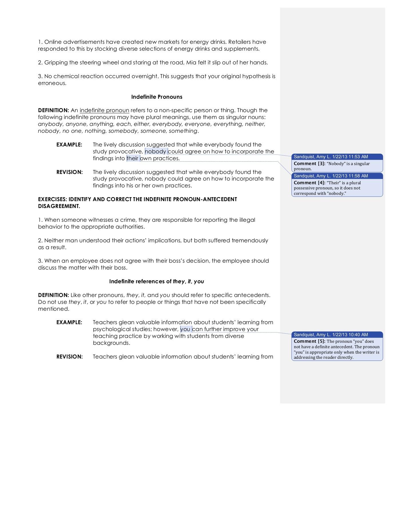 Vague Pronoun Reference Worksheet