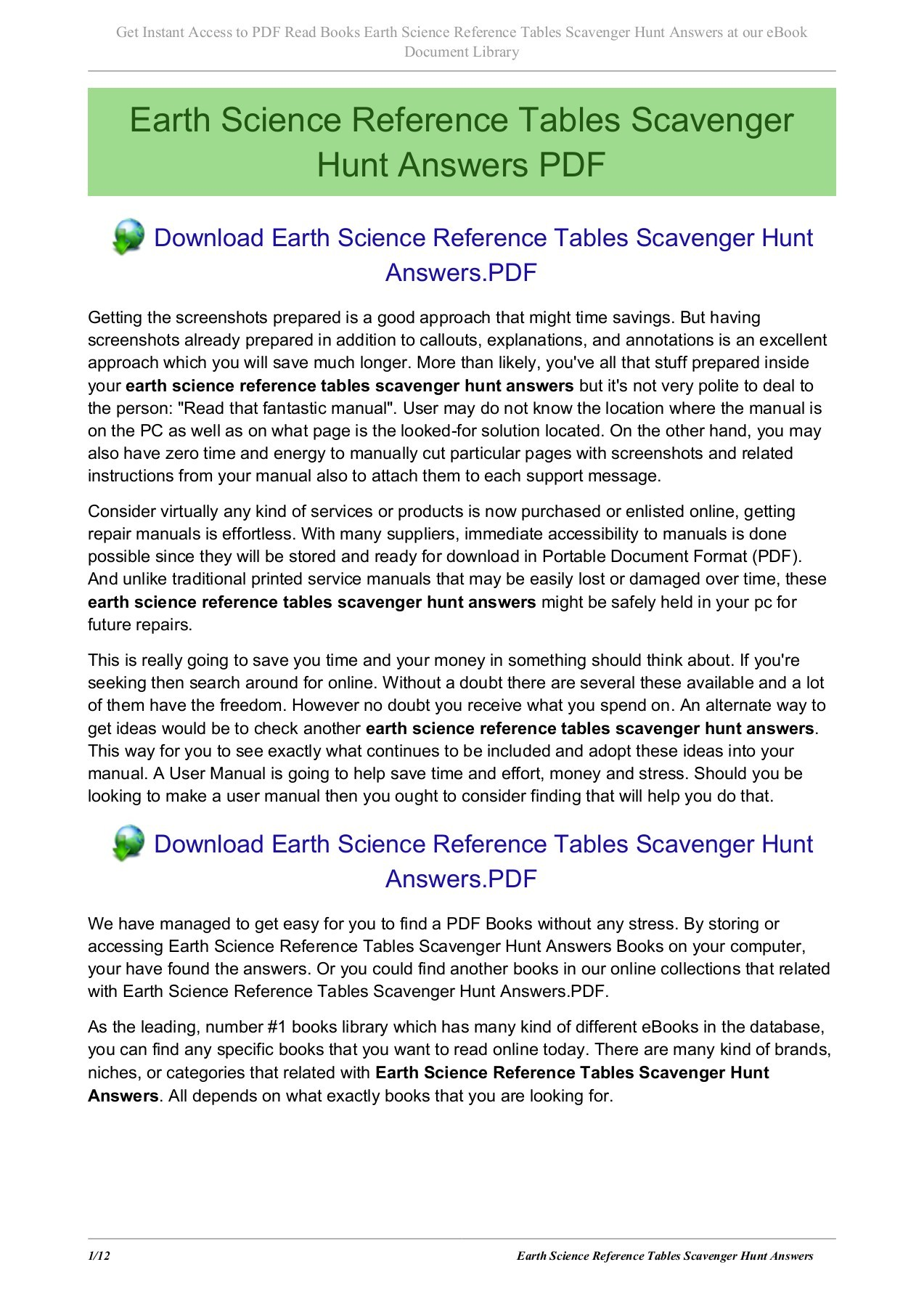 Earth Science Reference Tables Scavenger Hunt