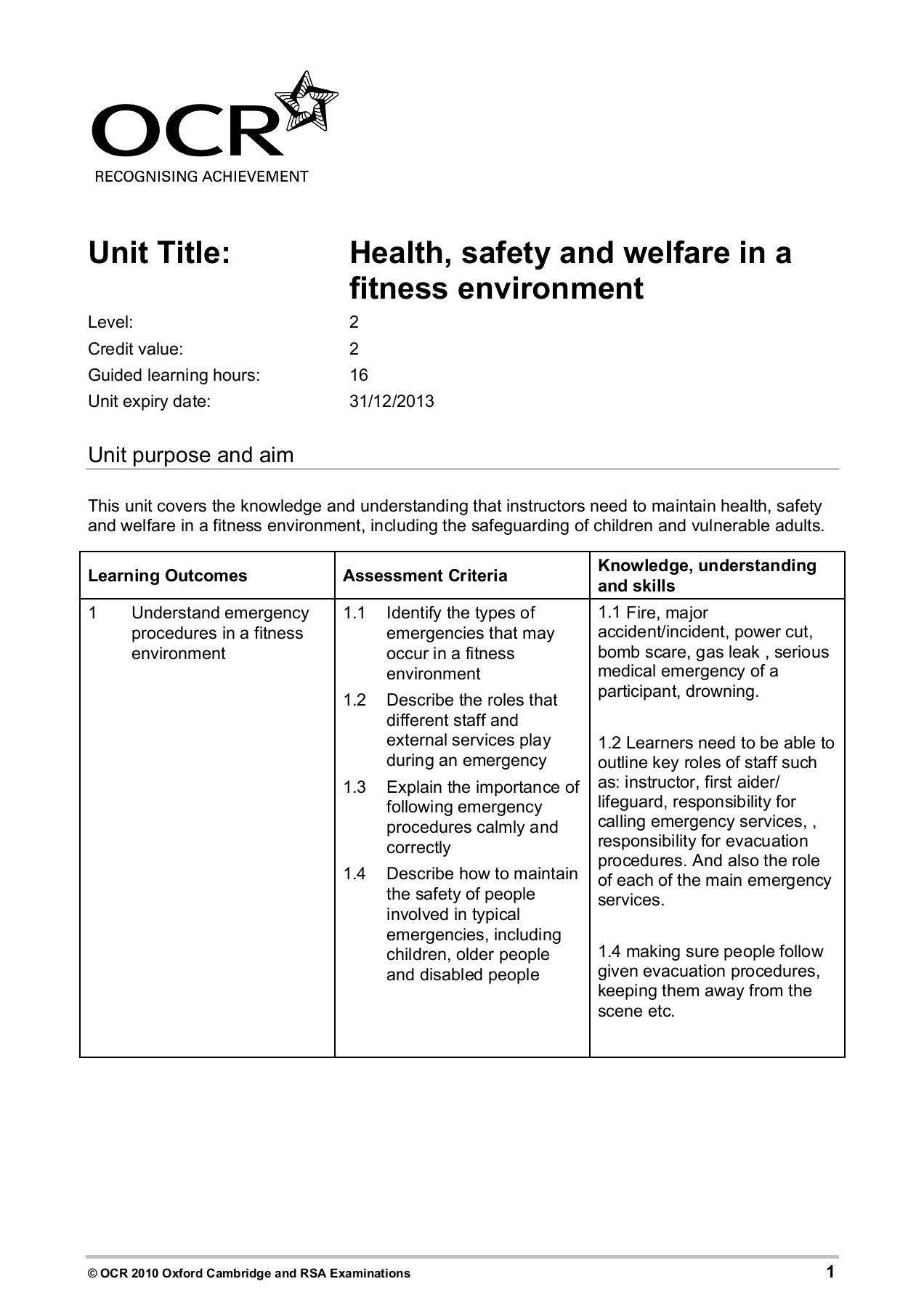 Unit Title Health Safety And Welfare In A Fitness