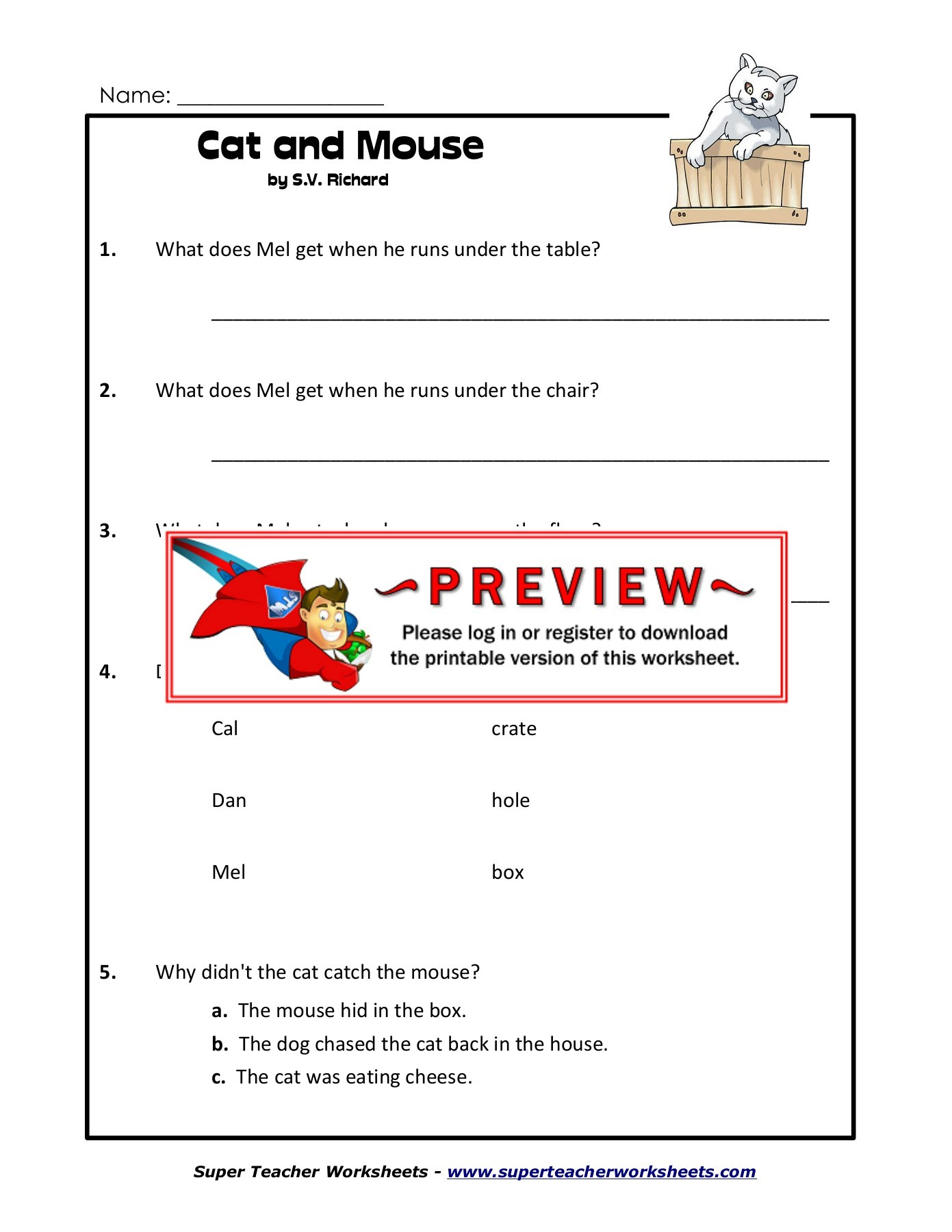 Printables Of Super Teacher Worksheet Holes