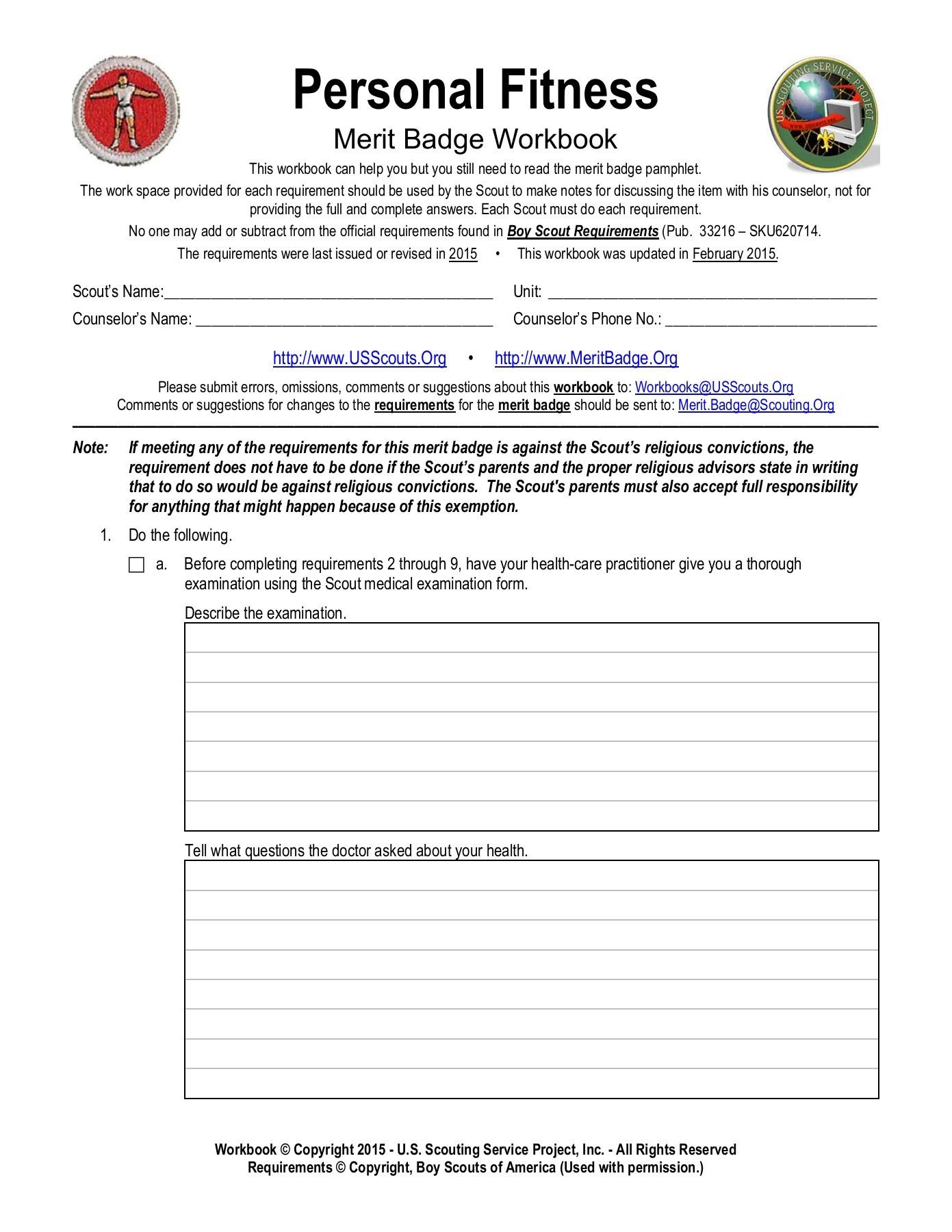 Personal Fitness Merit Badge Worksheet