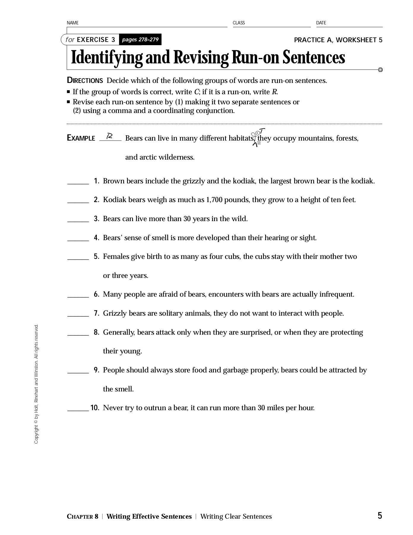 Run On Sentence Worksheet Answers Tutore
