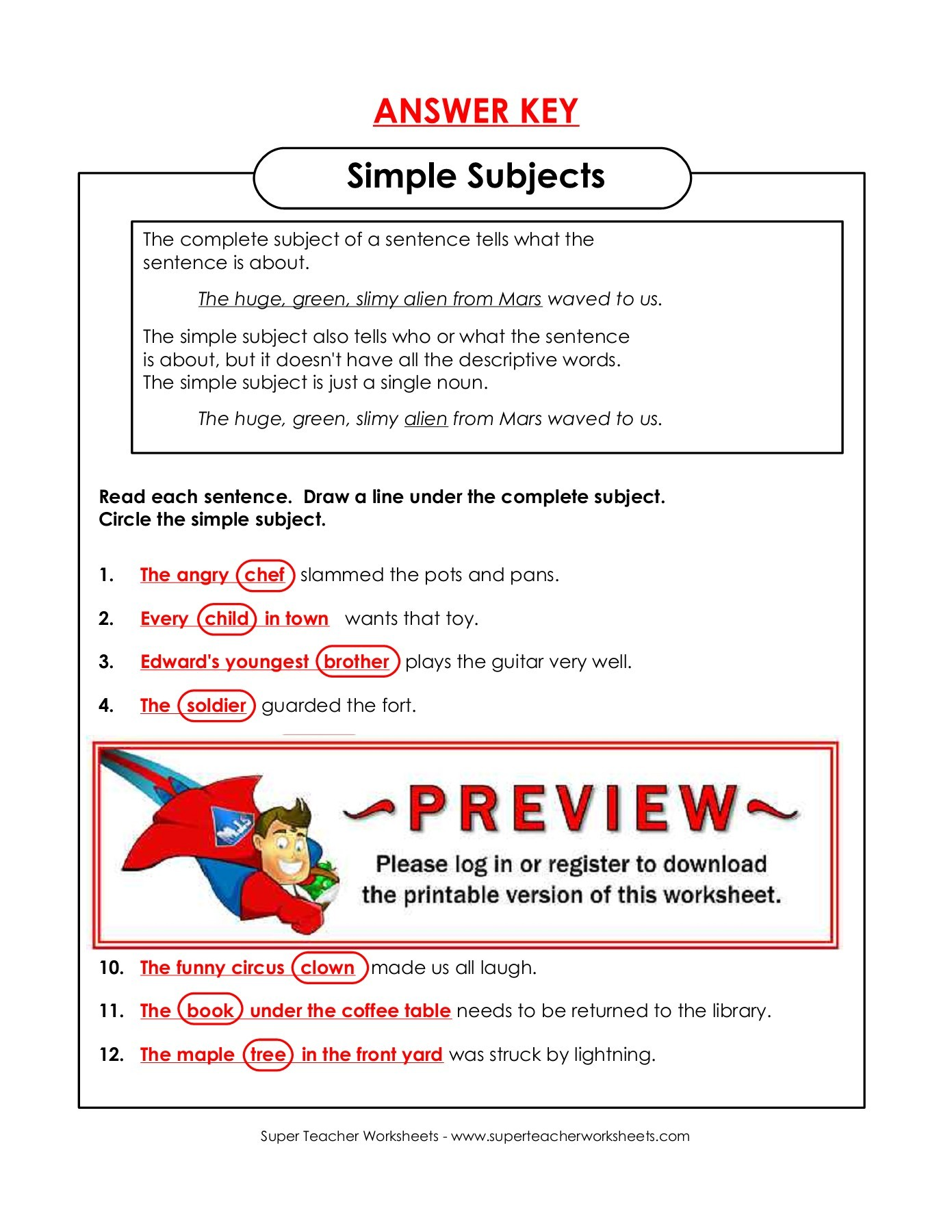 Super Teacher Worksheets Answer Key Tutore