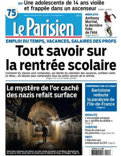 Le Parisien + Journal de Paris du mardi 01 septembre 2015