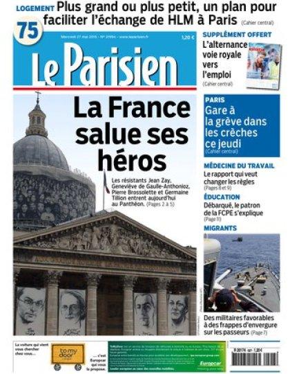 Le Parisien + Journal de Paris du mercredi 27 mai 2015
