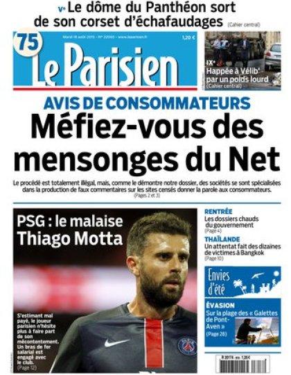 Le Parisien + Journal de Paris du mardi 18 aout 2015