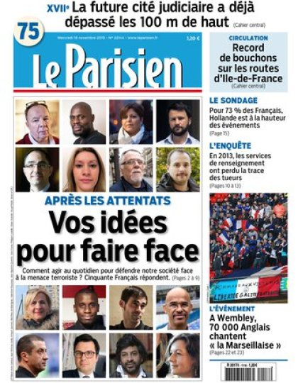 Le Parisien + Journal de Paris du mercredi 18 novembre 2015
