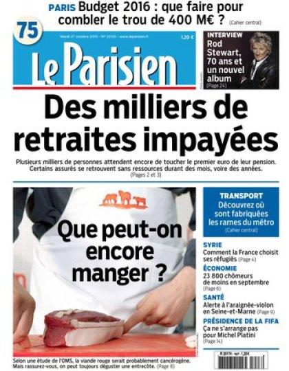 Le Parisien + Journal de Paris du mardi 27 octobre 2015