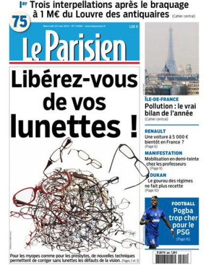 Le Parisien + Journal de Paris du mercredi 20 mai 2015