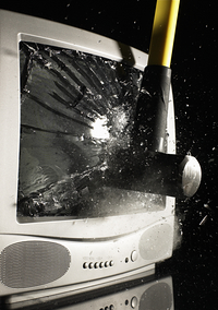TV Smashed With Hammer