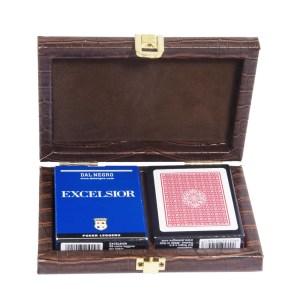 EDE908001-Deluxe θήκη δερματίνη ματ καφέ 801041 με 2 τράπουλες | Online 4u Shop