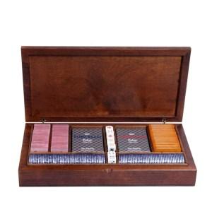EDE905007-Κασετίνα καρυδιάs Radica με μάρκες & τράπουλες 307419   Online4U Shop