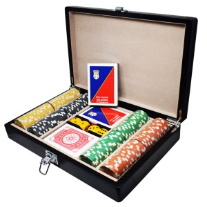 EDE905008-Κασετίνα μαόνι με 200 μάρκες & τράπουλες Dal Negro 803012 | Online 4U