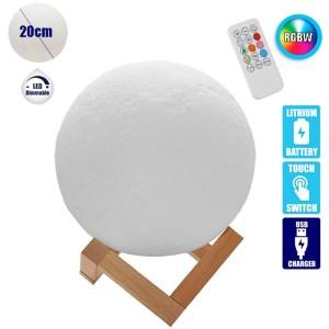 HGF250002-Φωτιστικό 3D Σελήνη 20cm RGB με χειριστήριο GloboStar 07030 | Online 4U Shop