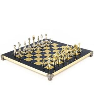 EDE854059-Μεταλλικό σκάκι Staunton 36x36cm S34 Blue Manopoulos | Online4uShop