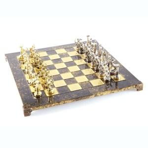 EDE854007-01 Χειροποίητο μεταλλικό σετ σκακιού με τους άθλους του Ηρακλή