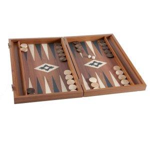 EDE900003 Χειροποίητο τάβλι - Απομίμηση από ξύλο καρυδιάς με πλαϊνές θήκες