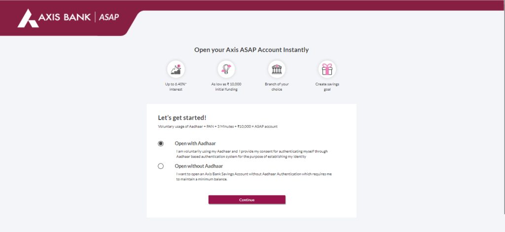 how to open axis asap account