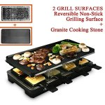 Artestia-Electric-Raclette-Grill-with-Two-Top-Plates-Cast-Aluminum-Reversible-Grill-Plate-and-High-Density-Granite-Grill-Stone-Serve-8-Persons-0
